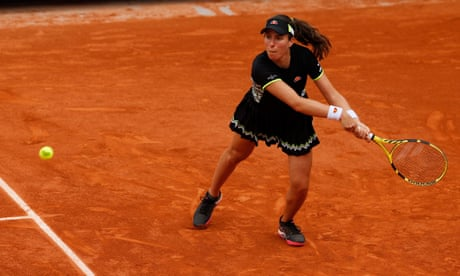 GUARDIAN TENNIS: Johanna Konta gets past Lauren Davis after seesaw French Open battle